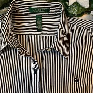 💙 Lauren Ralph Lauren Women's Striped L/S Shirt